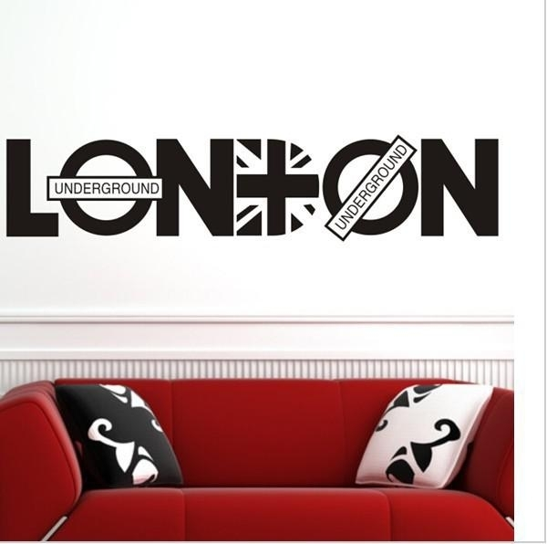 English Letter London Wall Art Decal Sticker London Wall Quote Decor Pertaining To London Wall Art (Image 2 of 10)