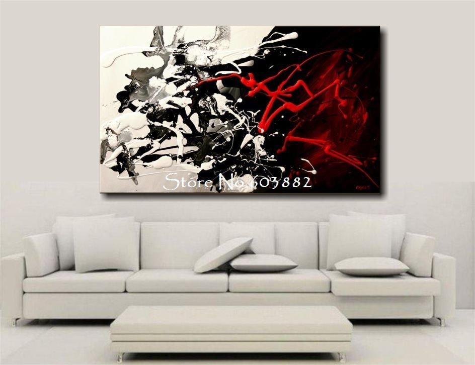 Excellent 100 Hand Painted Discount Large Black White And Red Pertaining To Black Wall Art (Image 4 of 10)