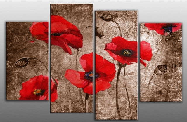 Extra Large 60 Poppies Grunge Abstract Red On Brown 4 Panel Wall Art Intended For Red Wall Art (Photo 8 of 10)