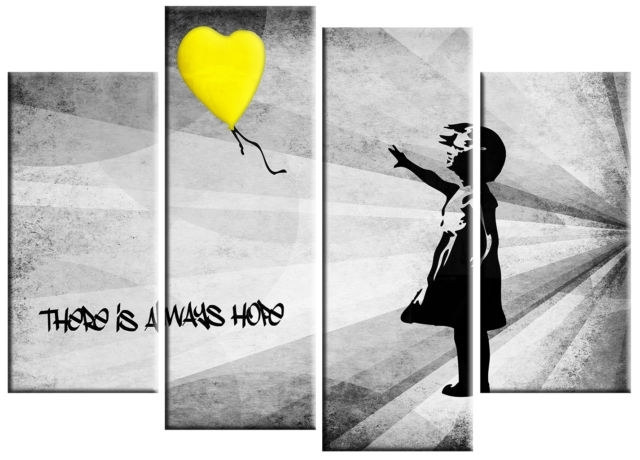 Extra Large Banksy Girl & Yellow Balloon Canvas Picture Yellow Grey Regarding Grey Wall Art (Photo 1 of 10)