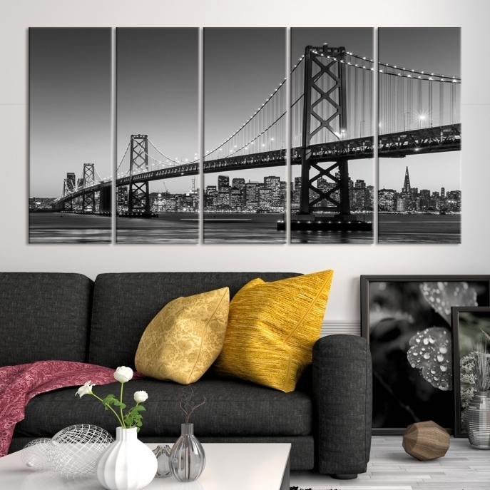 Extra Large Wall Art San Francisco Canvas Print – Black And White For San Francisco Wall Art (Image 4 of 10)