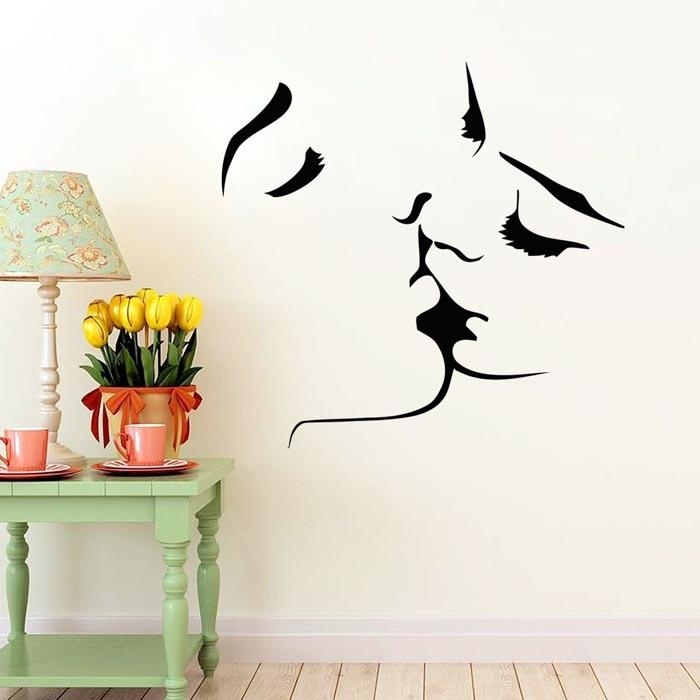 Face Kiss Couple Wedding Wall Art Sticker Decal Home Decoration Inside Wall Art Decals (Image 3 of 10)