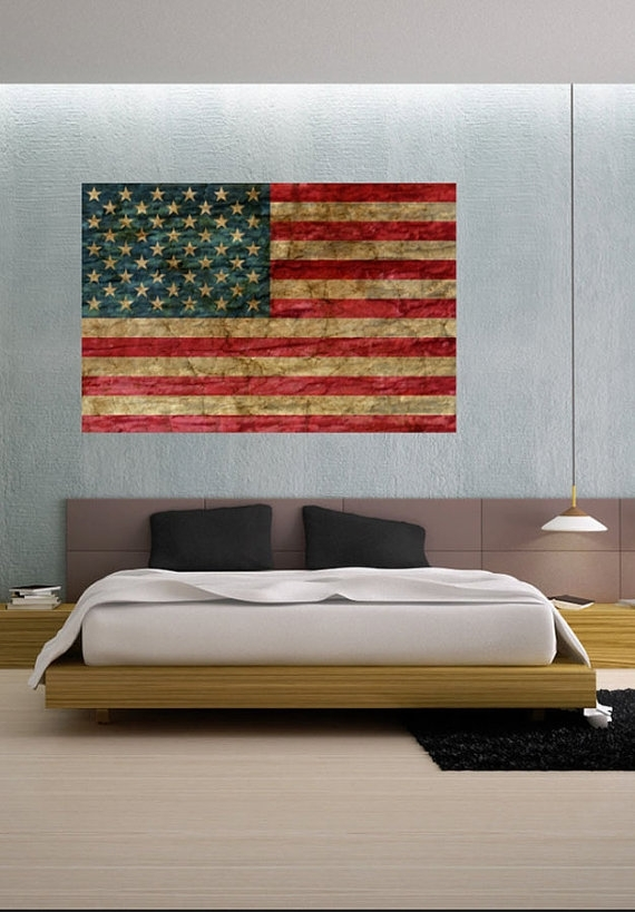 Faded Rustic American Flag Landmark – Vinyl Wall Decal Full Color In Rustic American Flag Wall Art (Image 4 of 10)