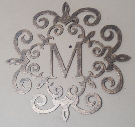 "Family Initial, Monogram, Antique Look 20"", Any Letter Available Throughout Metal Letter Wall Art (View 5 of 10)"