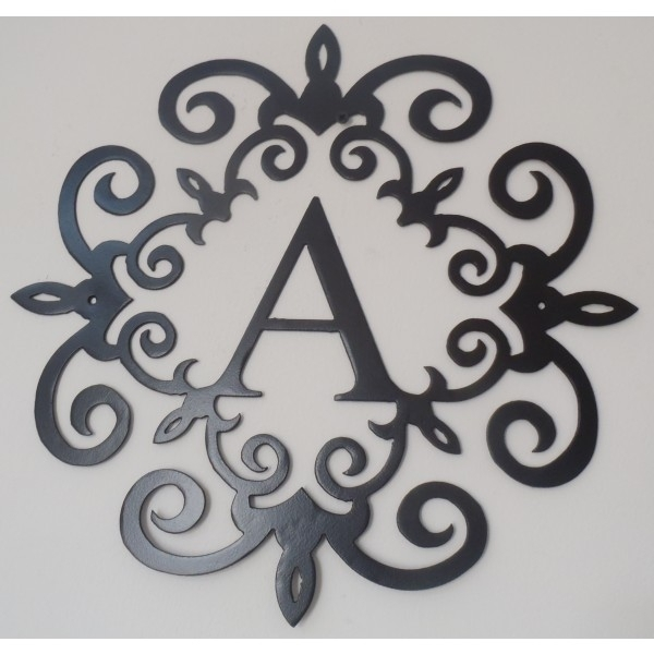 Family Initial, Monogram Inside A Metal Scroll With A Letter, 20 In Black Metal Wall Art (Image 5 of 10)