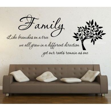 Family Like Branches On A Tree Inspirational Wall Art Sticker Intended For Inspirational Wall Art (View 2 of 10)