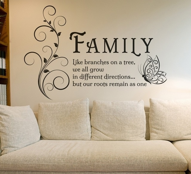 Family Like Branches Quotes Butterfly Vinyl Wall Art Sticker Flower With Regard To Wall Art Quotes (Image 3 of 10)