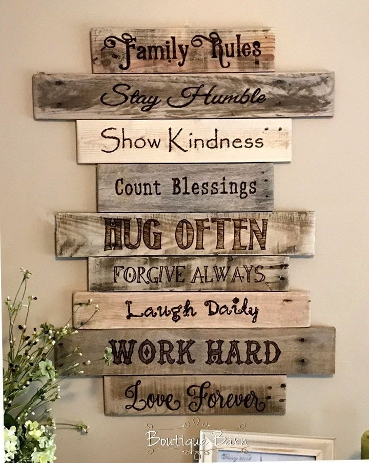 Family Rules – Christian – Home Decor – Home Inspiration – Wall Art Inside Wood Wall Art Quotes (Image 5 of 10)