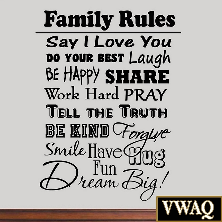 Family Rules Vinyl Wall Decal Inspirational Quote Home Decor Family For Family Rules Wall Art (View 5 of 10)