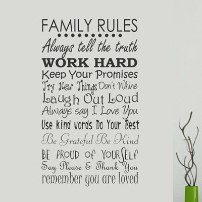 Family Rules Wall Decal « Wallapalooza Decals With Family Rules Wall Art (View 9 of 10)