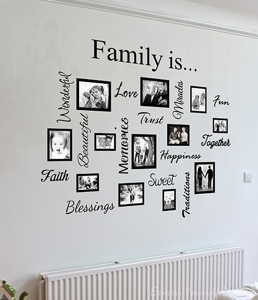 Family Word Quote Gallery Wall | Wall Art Decal Sticker Within Family Wall Art (Image 5 of 10)