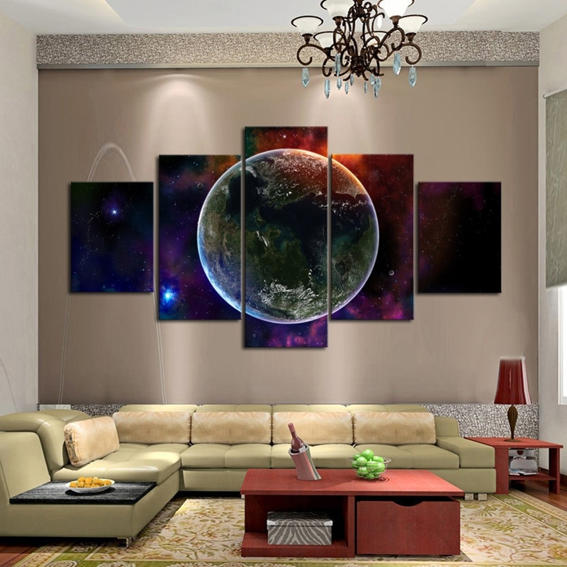 Fantasy Universe Wall Art Unique 5 Panels Wall Painting For Living Intended For Unique Wall Art (View 6 of 10)