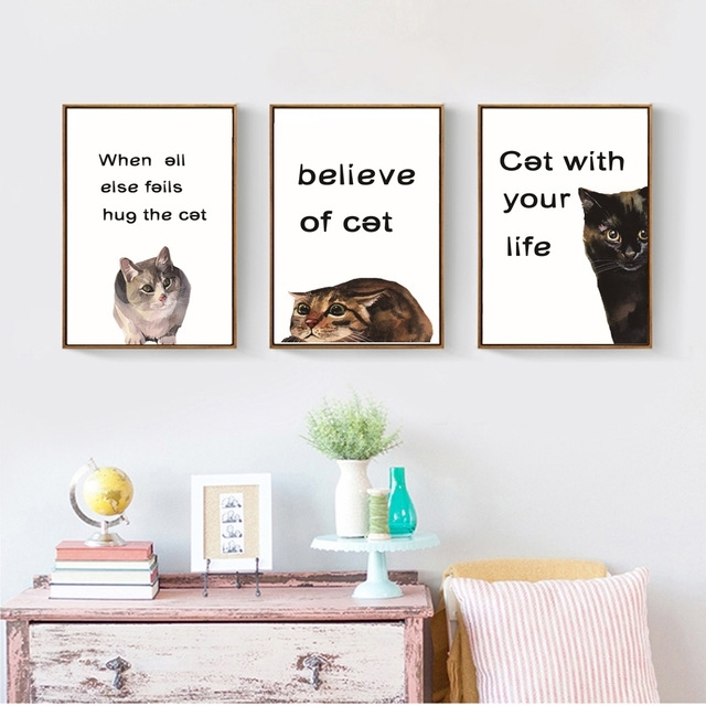 Fashion Cute Cat Canvas Painting Classic Quotes Animals Posters And Inside Cat Canvas Wall Art (Photo 1 of 10)
