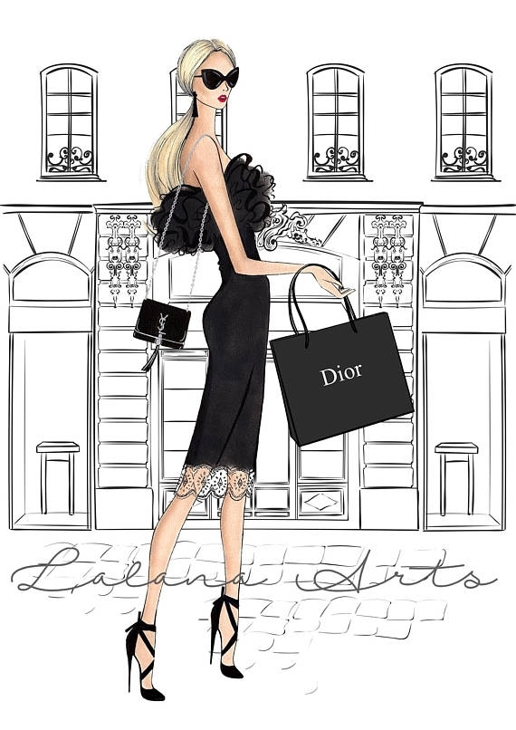 Fashion Illustration Fashion Wall Decor Girly Wall Art Fashion Wall Pertaining To Fashion Wall Art (Image 3 of 10)