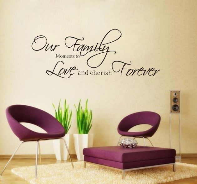 Fashion Our Family Moments Love Forever Removable Vinyl Wall Art Within Word Art For Walls (Image 3 of 10)