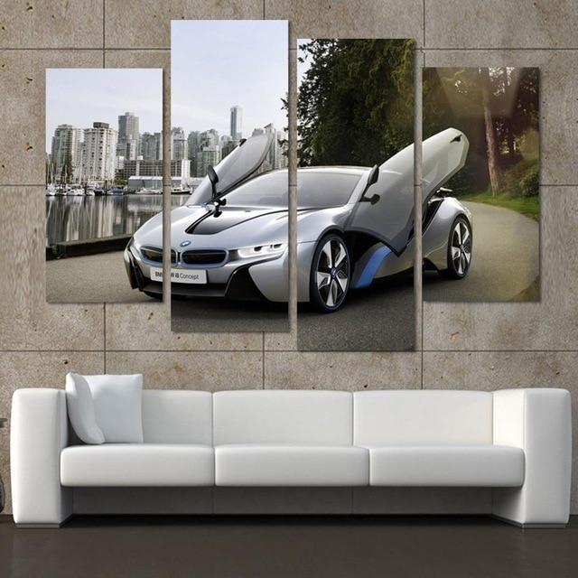 Fashion Sport Car Canvas Prints Painting Decoration For Bed Room 4 Inside Car Canvas Wall Art (Image 6 of 10)