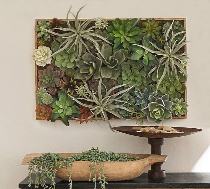 Faux Succulent In A Wood Box Wall Art With Regard To Succulent Wall Art (Image 3 of 10)