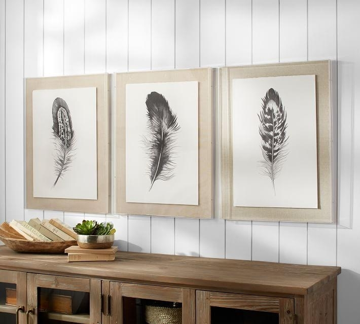 Feather 3 Piece Framed Wall Art Throughout Framed Wall Art (View 6 of 10)