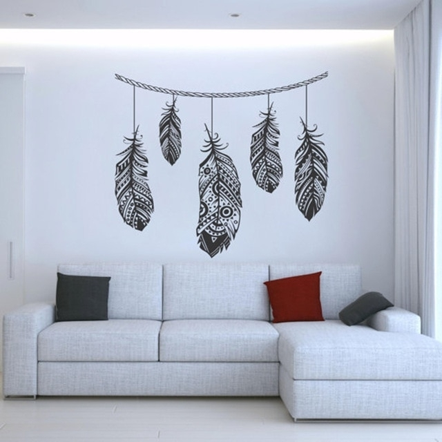Feather Wall Decal Stickers Tribal Wall Art Boho Bohemian Decor Throughout Feather Wall Art (Image 4 of 10)