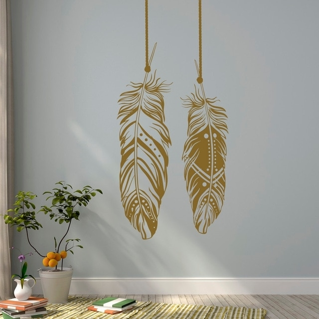 Feathers Wall Decals Tribal Wall Art Boho Bohemian Wall Decor Living Pertaining To Bohemian Wall Art (View 4 of 10)