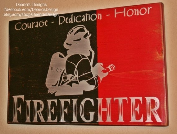 Firefighter Wall Art Firefighter Decor Distressed Wall | Etsy Regarding Firefighter Wall Art (Image 5 of 10)