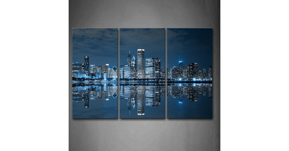 Firstwallart Blue Cool Chicago Wall Art | Best Wall Art From Amazon Throughout Chicago Wall Art (Image 6 of 10)