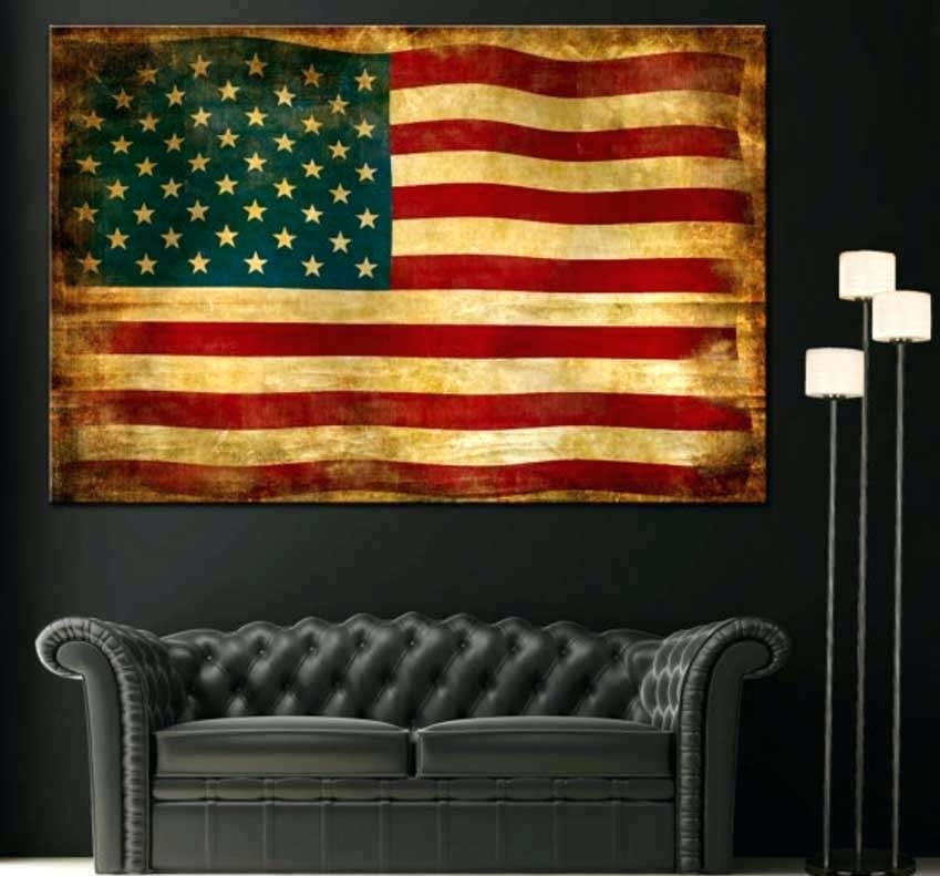 Flag Wall Art Vintage Wooden American Flag Wall Art – 7Thhouse In Vintage American Flag Wall Art (Photo 1 of 10)