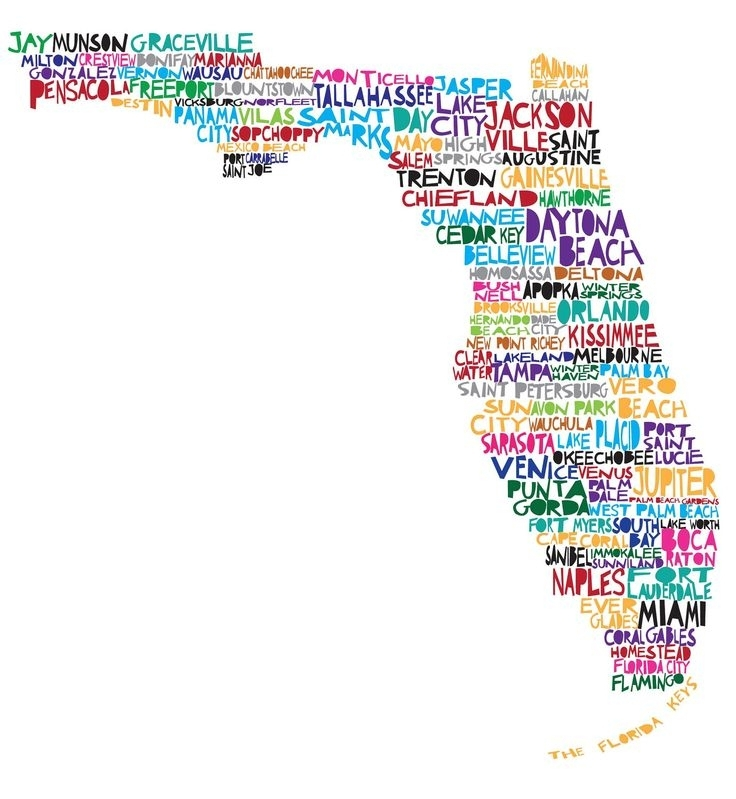Florida City Map Outline Florida Wall Art Arsmart 736 X 799 Pixels Inside Florida Wall Art (View 5 of 10)