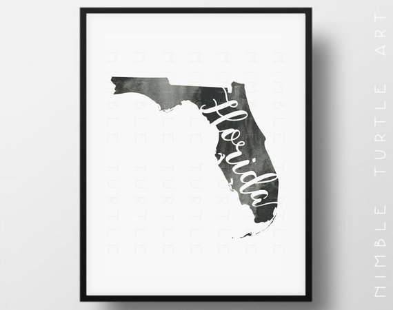 Florida State Outline Watercolor Printable Florida Wall Art | Etsy For Florida Wall Art (View 2 of 10)