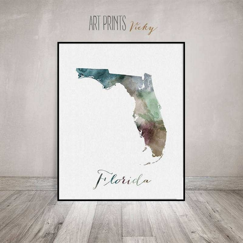 Florida Wall Art Inspirational Florida Map Print Travel Map Florida Throughout Florida Wall Art (View 8 of 10)