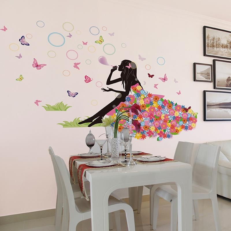 Flower Fairy On Grassland Wall Decal Sticker Colorful Dress Girl Pertaining To Wall Art Decals (Image 4 of 10)