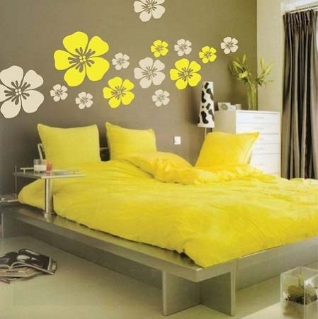 Flower Wall Art Design   Floral Wall Decals   Trendy Wall Designs For Floral Wall Art (Image 3 of 10)