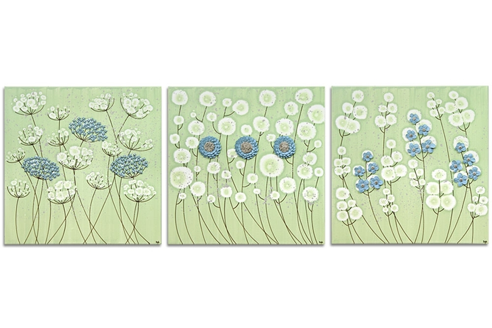 Flower Wall Art On 3 Canvases In Green And Blue – Extra Large | Amborela Regarding Green Wall Art (Image 4 of 10)