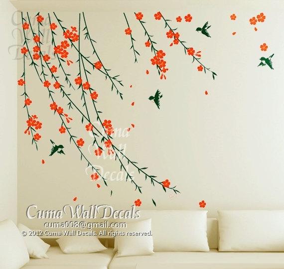 Flower Wall Decals Birds Wall Sticker | Cuma Wall Decals Regarding Flower Wall Art (Image 5 of 10)