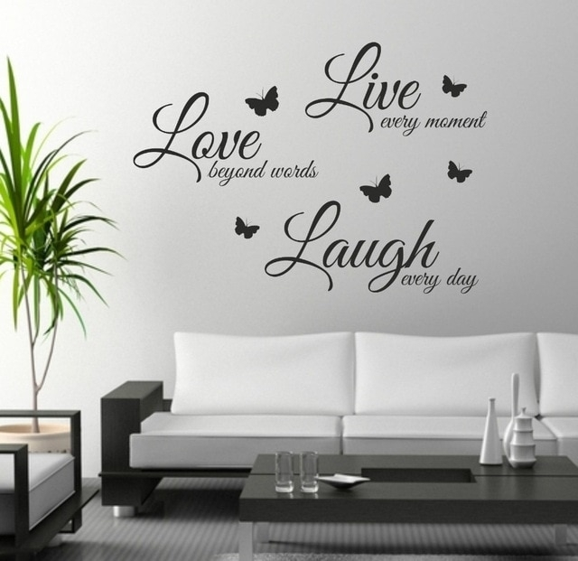 Foodymine Live Laugh Love Wall Art Sticker Quote Wall Decor Wall Pertaining To Quote Wall Art (View 5 of 10)