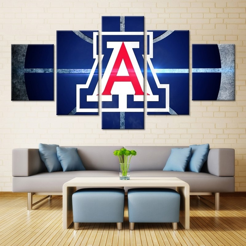 Forbeauty 5 Panel Art Canvas Painting Spray Printings University Of Inside Arizona Wall Art (View 6 of 10)