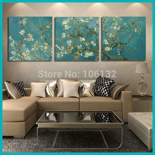 Framed 3 Panel Canvas Art Van Gogh Painting Reproductions Flowers In Framed Wall Art For Living Room (Image 3 of 10)
