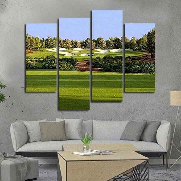 Framed 4 Piece Golf Course Picture Canvas Painting Wall Art Home In Golf Canvas Wall Art (Image 6 of 10)