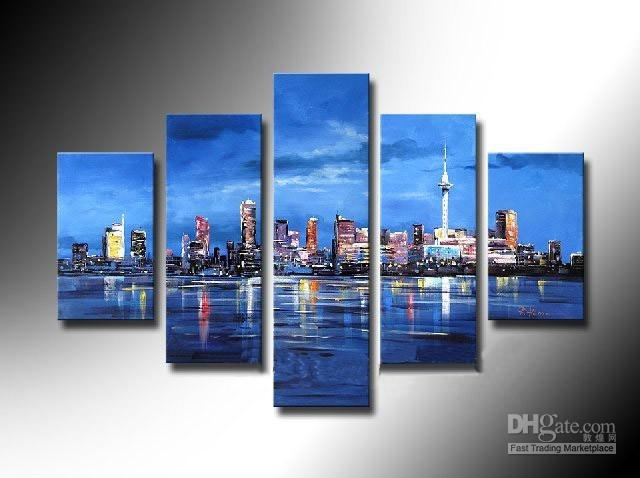 Framed 5 Panel Large New York City 5 Panel Canvas Wall Art Blue With Regard To 5 Piece Canvas Wall Art (Image 7 of 10)