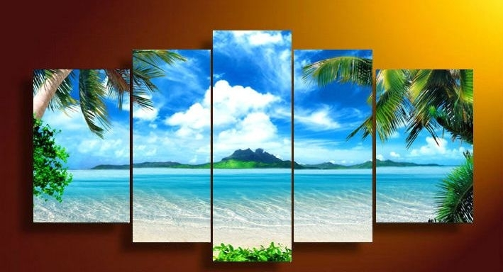 Framed 5 Panel Wall Art Canvas Blue Sky And White Clouds Sea In 5 Panel Wall Art (Image 8 of 10)