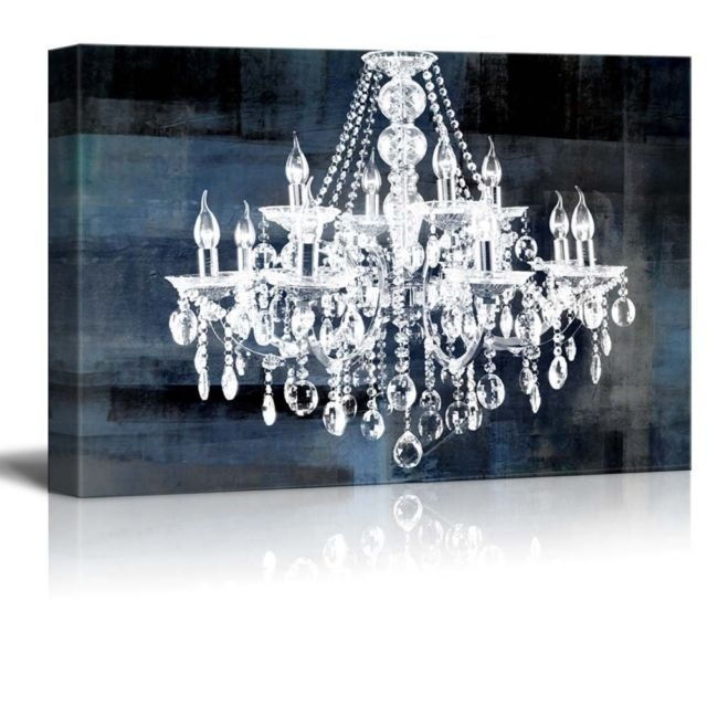 Framed Crystal Chandelier Vintage Large Canvas Wall Art Print With Chandelier Wall Art (Image 6 of 10)