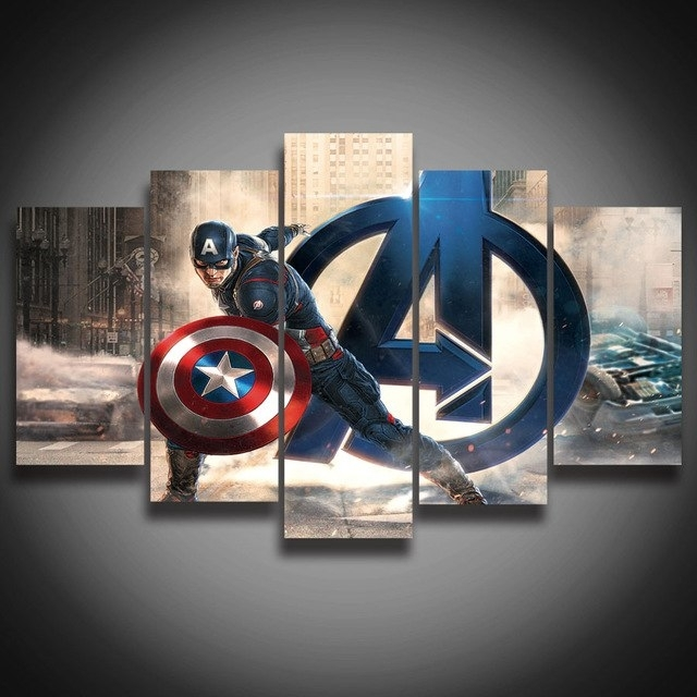 Framed Hd Printed Movie Super Hero Avenger Captain America Painting Intended For Captain America Wall Art (View 4 of 10)