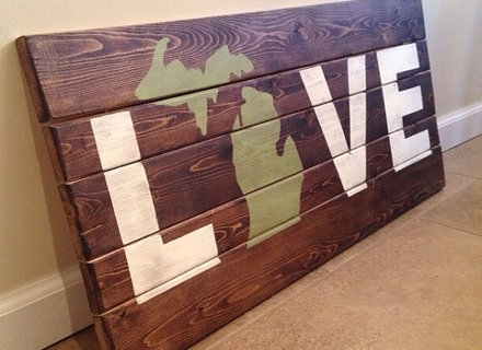 Framed Rustic Pallet Wood Michigan Wall Sign Art, Michigan Wall Art In Michigan Wall Art (View 8 of 10)