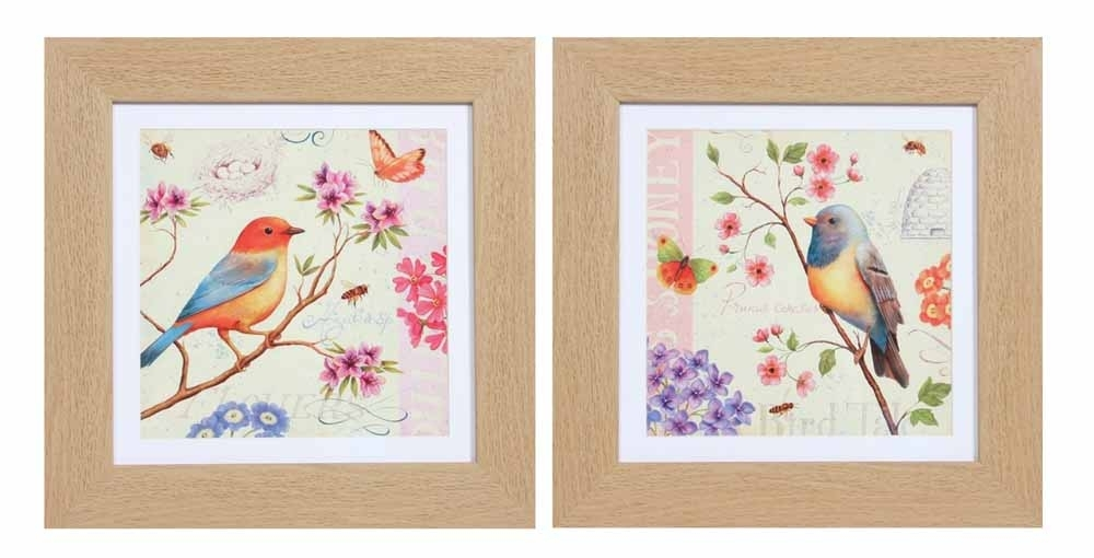Framed Wall Art – Colourful Birds Set Of 2 Within Bird Framed Canvas Wall Art (Photo 2 of 10)