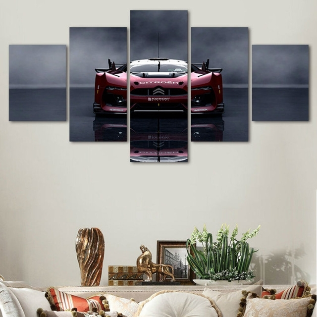 Framed Wall Art Stylish Luxury Red Sports Car Canvas Prints Modern Throughout Car Canvas Wall Art (Image 7 of 10)