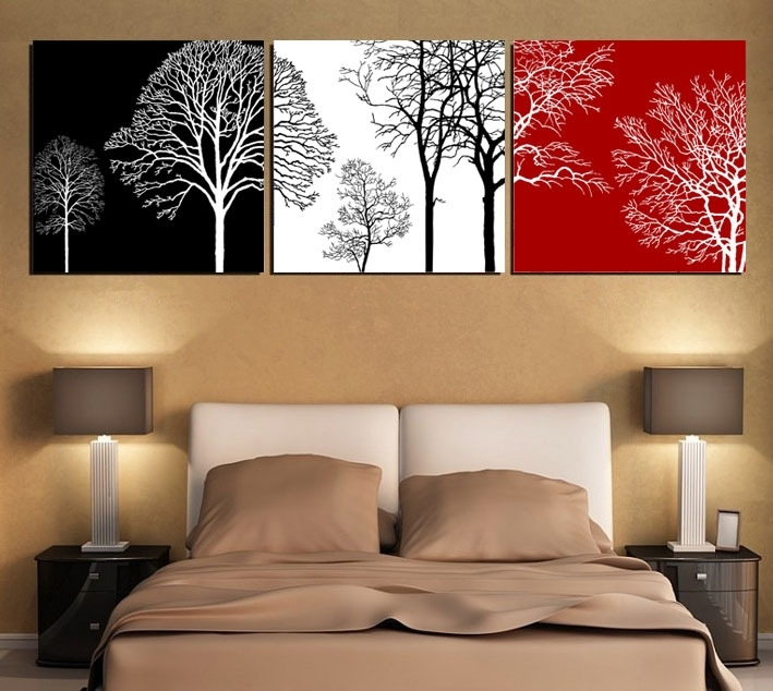 Free Shipping Black White And Red Tree Modern Wall Art Oil Painting With Regard To Modern Wall Art (View 6 of 10)