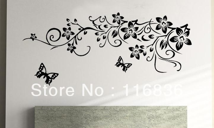 Free Shipping Retail Hot Selling Black Flowers Pattern Fashion Diy Pertaining To Black Wall Art (Image 5 of 10)