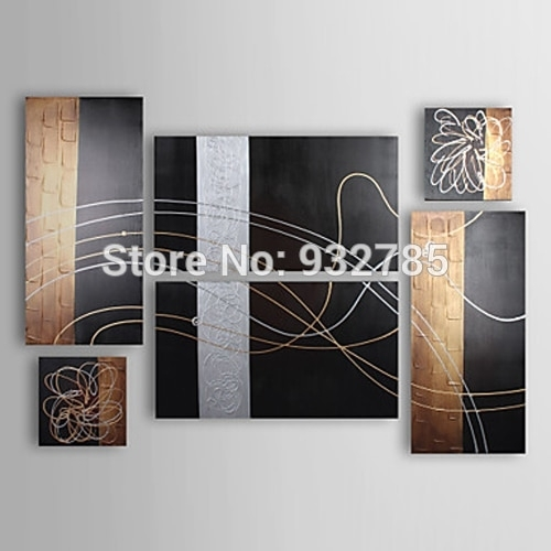 Free Shipping,100% Handmade Oil Paintings Abstract On Canvas 6 Piece Inside Black And Gold Wall Art (Image 7 of 10)
