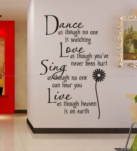 Free Shipping:wholesale=50%discount Off Dance Love Sing Live Wall Throughout Word Art For Walls (Photo 1 of 10)