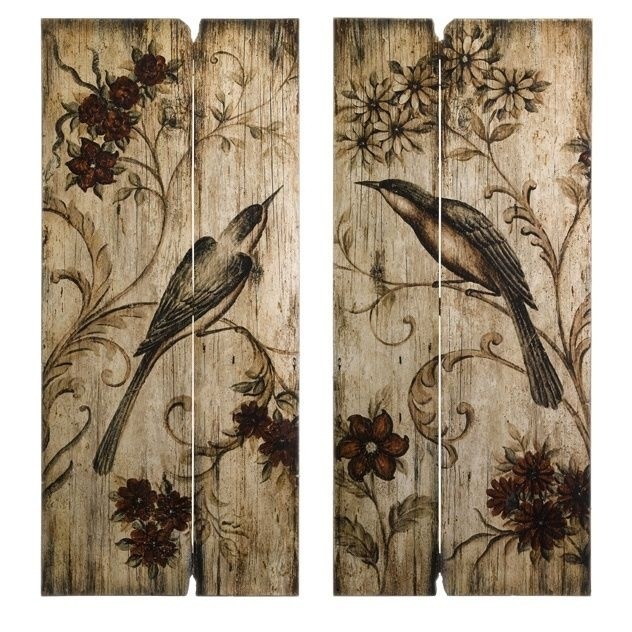 French Country Wall Art | French Country S/2 Bird & Floral Wood Inside Country Wall Art (Image 5 of 10)